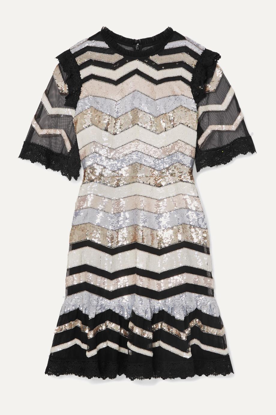 Needle & Thread Alaska lace-trimmed sequined tulle mini dress
