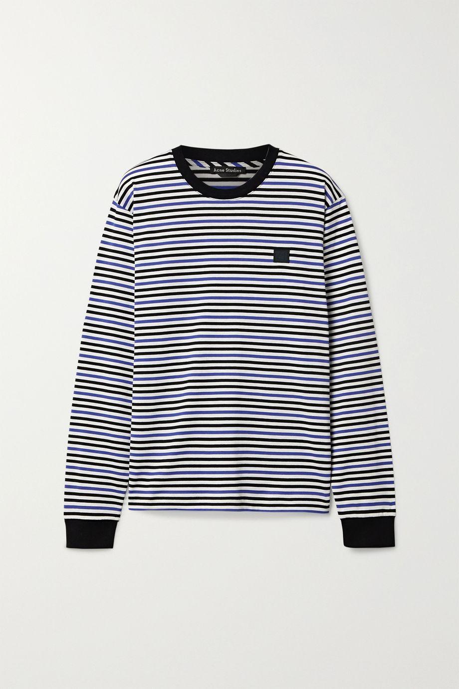 Acne Studios Appliquéd striped cotton-jersey top