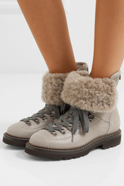 Shearling-lined leather and suede ankle boots