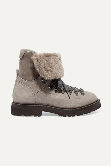 Brunello Cucinelli Boots Shearling-lined leather and suede ankle boots