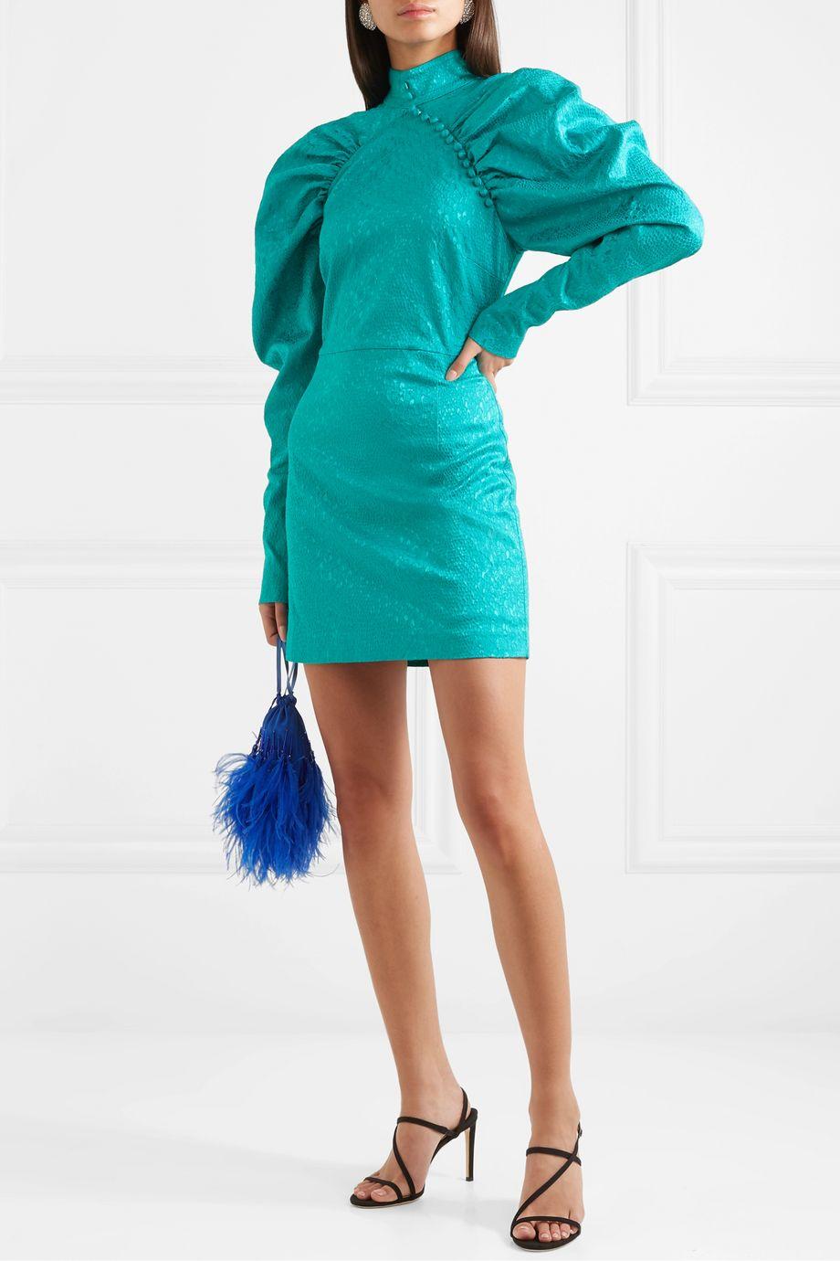 ROTATE Birger Christensen Kim button-detailed snake-jacquard mini dress