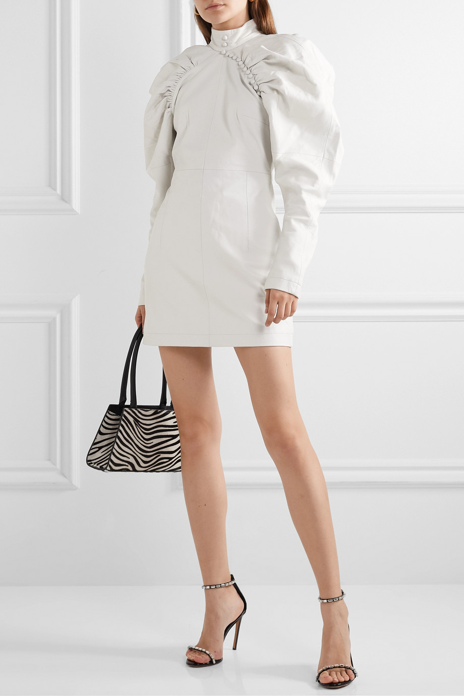 ROTATE Birger Christensen Kim button-detailed leather mini dress
