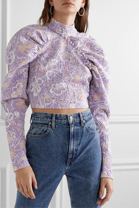 Kim cropped metallic brocade top