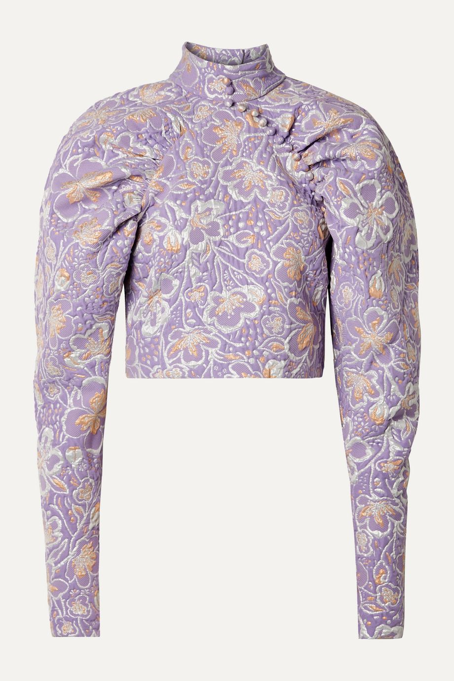 ROTATE Birger Christensen Kim cropped metallic brocade top