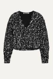 ROTATE Birger Christensen Masha sequined bouclé top