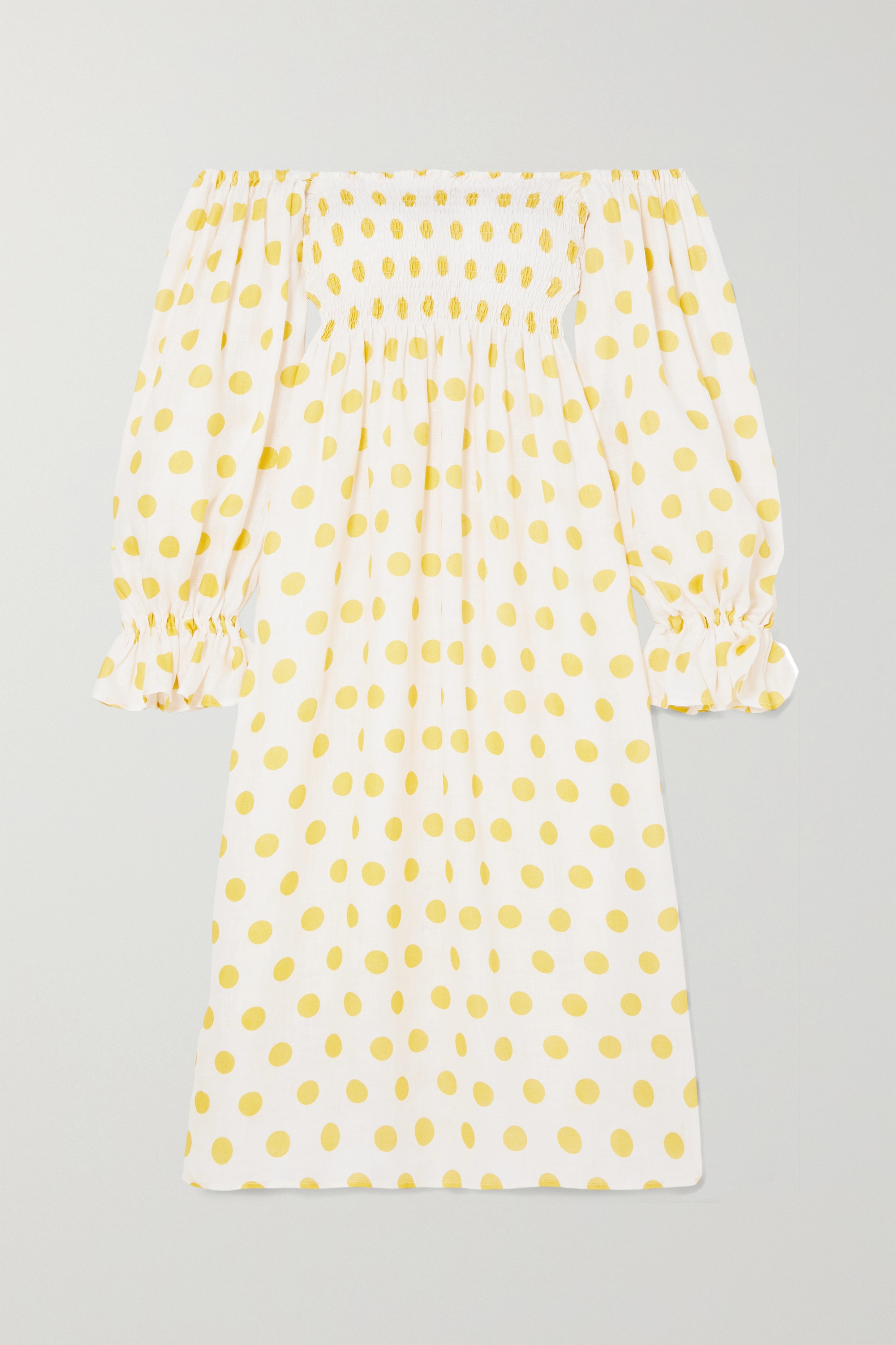 Sleeper Atlanta off-the-shoulder shirred polka-dot linen midi dress