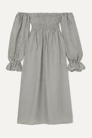Sleeper Atlanta off-the-shoulder shirred gingham linen midi dress