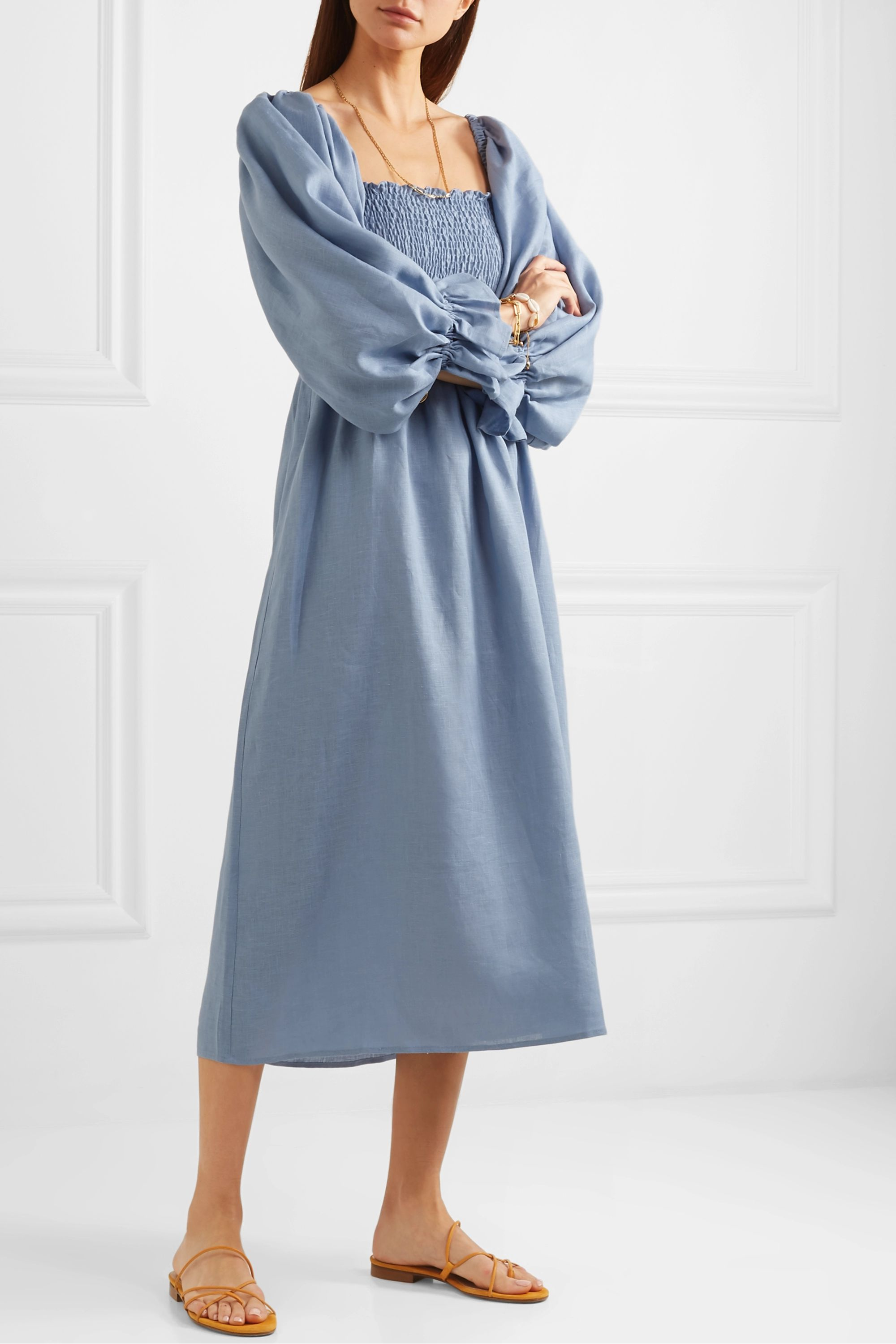 Sleeper Atlanta off-the-shoulder shirred linen midi dress