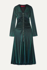 Sies Marjan Jade ruched Lurex midi dress