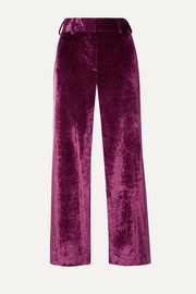 Sonya satin-trimmed crushed-velvet straight-leg pants