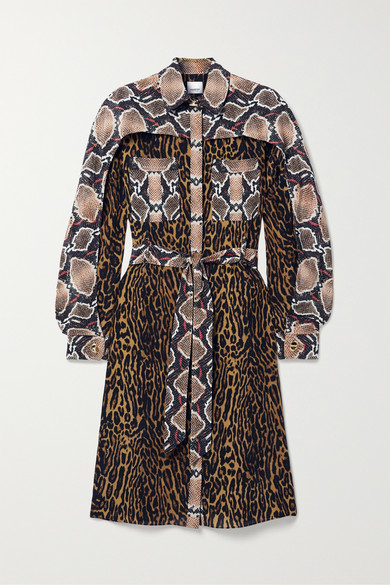 Burberry Chamisier Dress With Animalier Patchwork Motif In Leopard Print