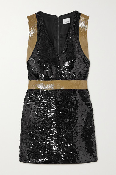 Burberry Oana Tape-trimmed Sequined Crepe Mini Dress In Black