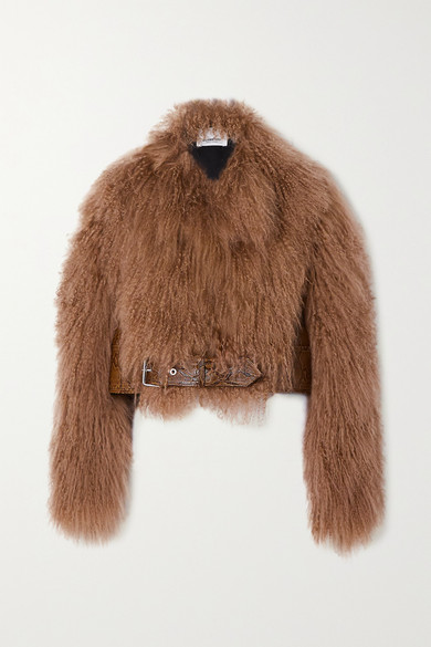Cropped snake-effect leather-paneled shearling jacket by Burberry, available on net-a-porter.com for EUR3690 Naomi Campbell Outerwear Exact Product