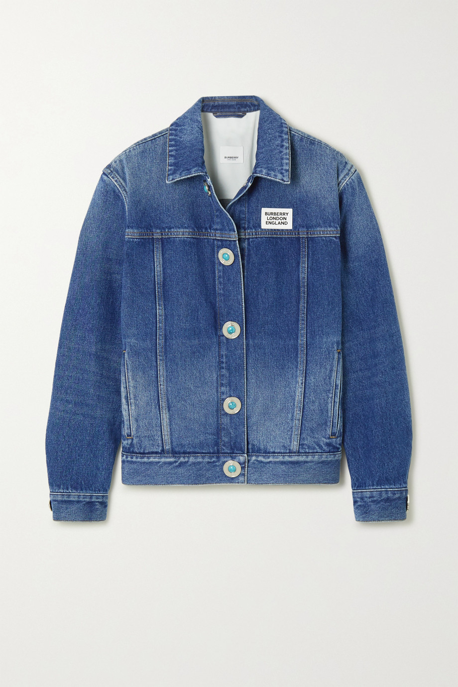 Burberry Appliquéd bead-embellished denim jacket