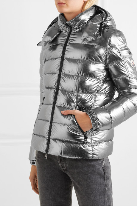 Metallic hooded quilted shell down jacket
