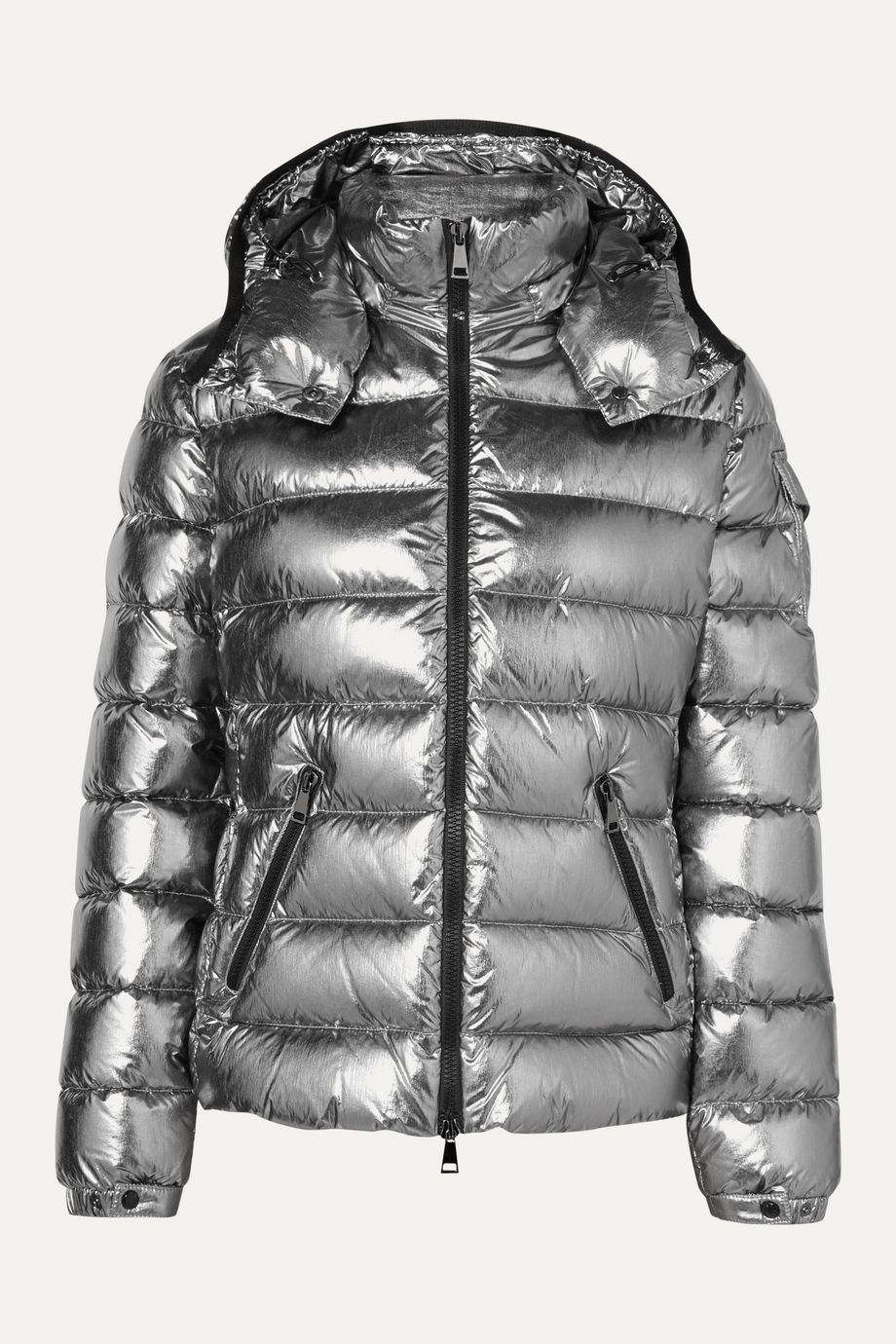 Moncler Metallic hooded quilted shell down jacket