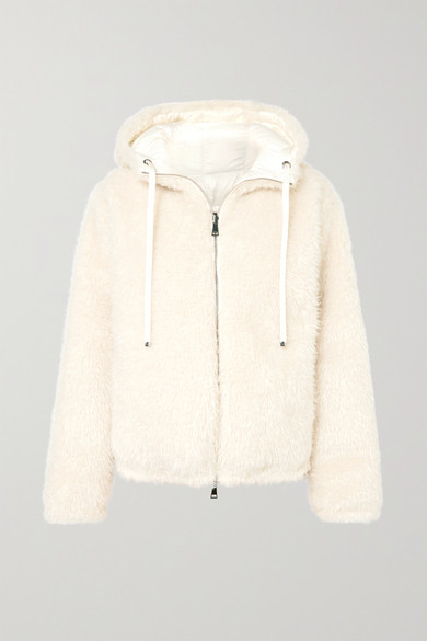Reversible hooded faux shearling quilted down jacket
