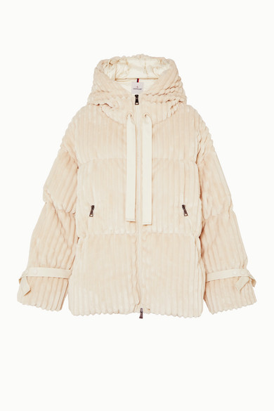 Moncler Jackets Hooded quilted corduroy down jacket