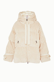 Hooded quilted corduroy down jacket