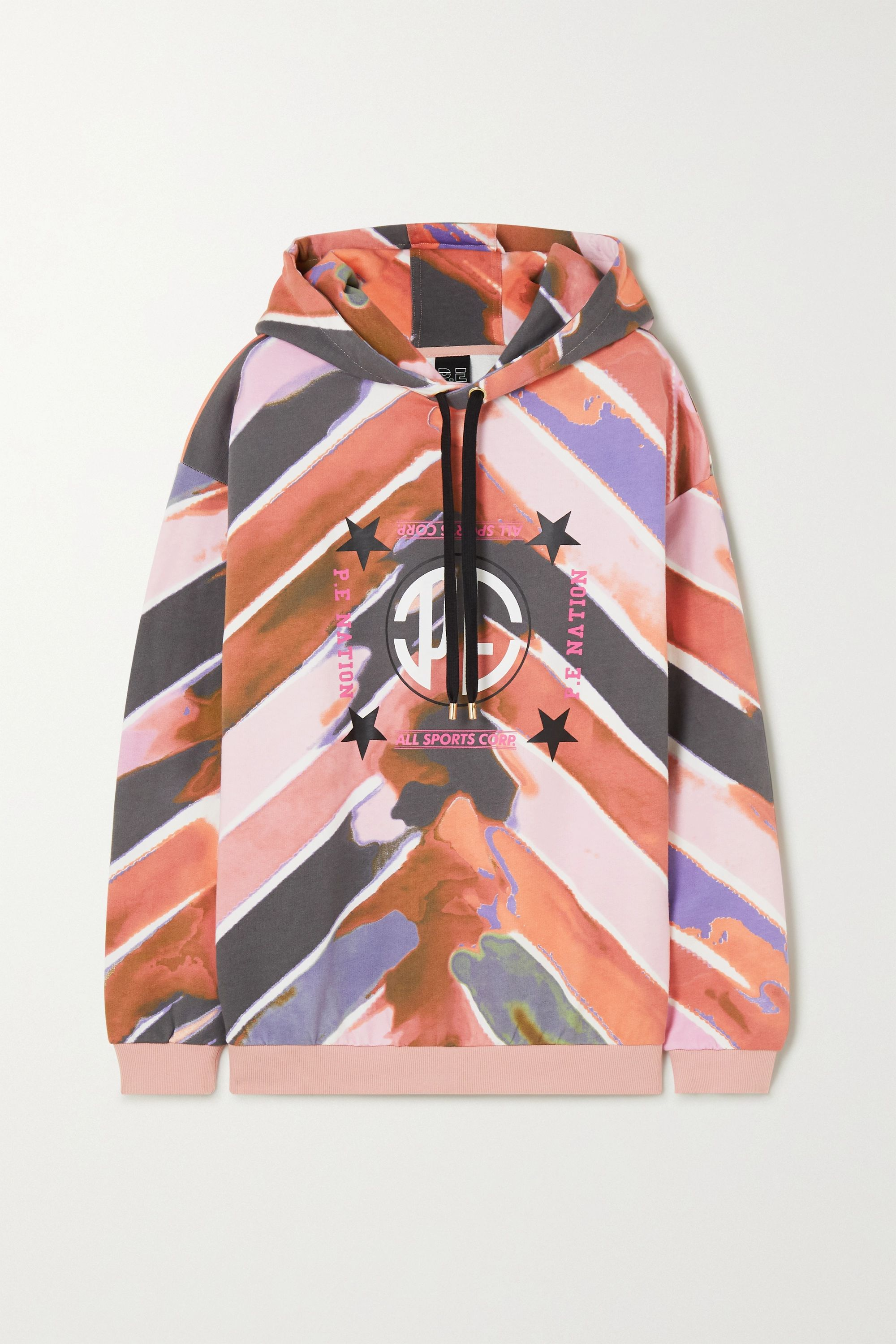 P.E NATION Co-Driver printed French cotton-terry hoodie