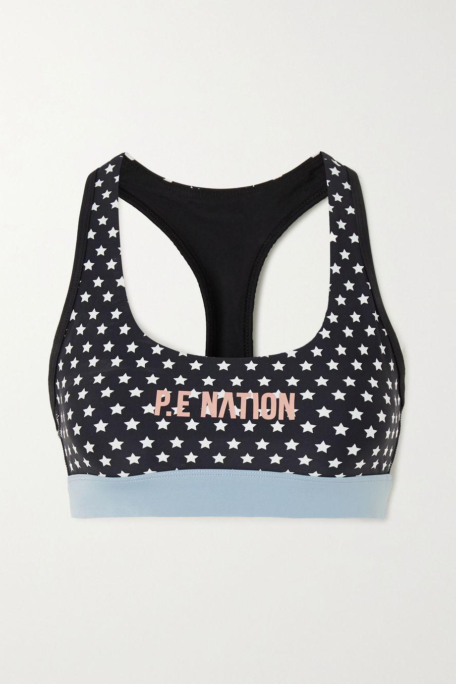 P.E NATION Dominion printed stretch sports bra