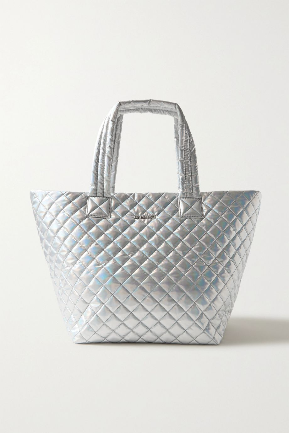 MZ Wallace Metro medium leather-trimmed quilted metallic shell tote