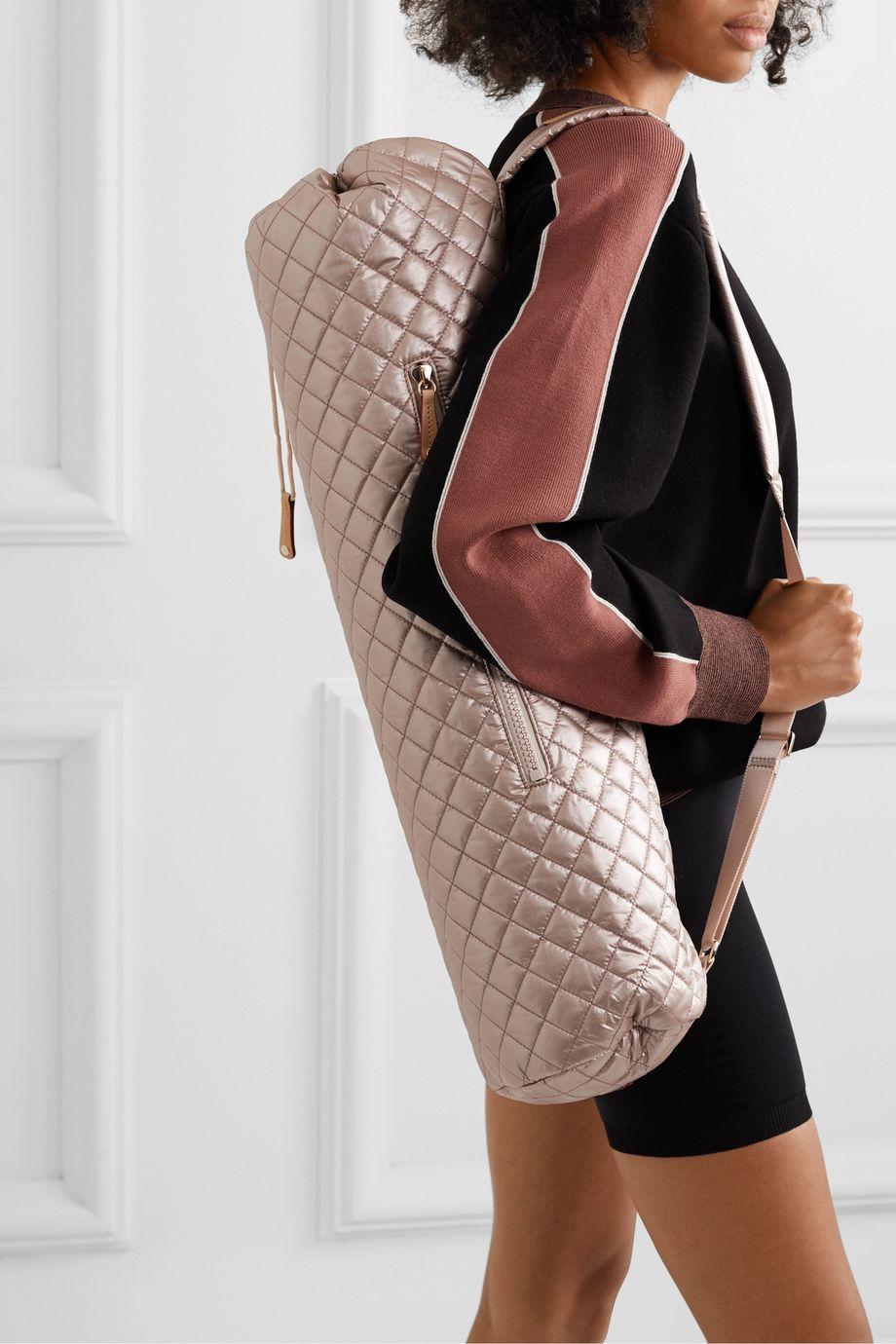 MZ Wallace Matt leather-trimmed metallic quilted shell yoga mat bag
