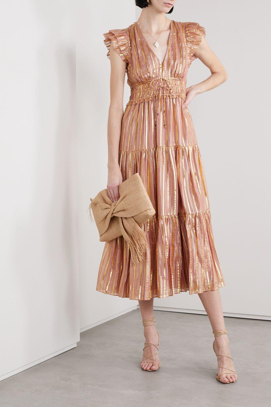 Ulla Johnson Justyne metallic tiered silk and Lurex-blend midi dress