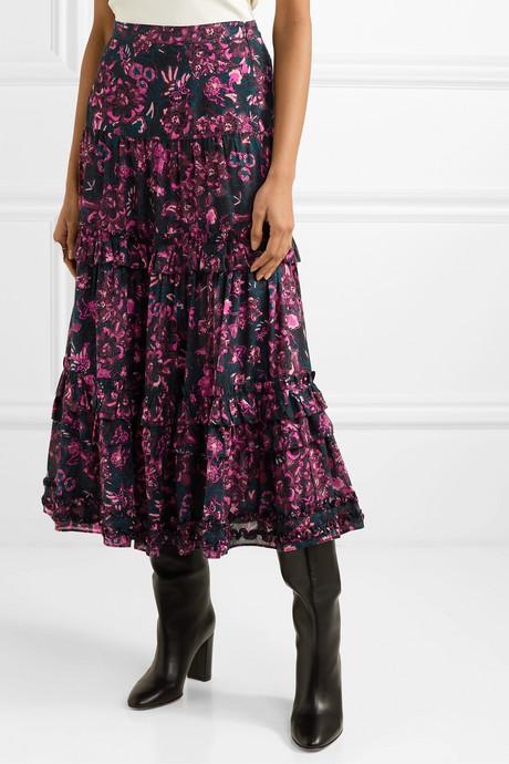 Amalia tiered floral-print cotton-blend voile midi skirt