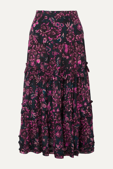 Ulla Johnson Skirts Amalia tiered floral-print cotton-blend voile midi skirt