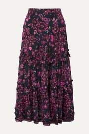Ulla Johnson Amalia tiered floral-print cotton-blend voile midi skirt