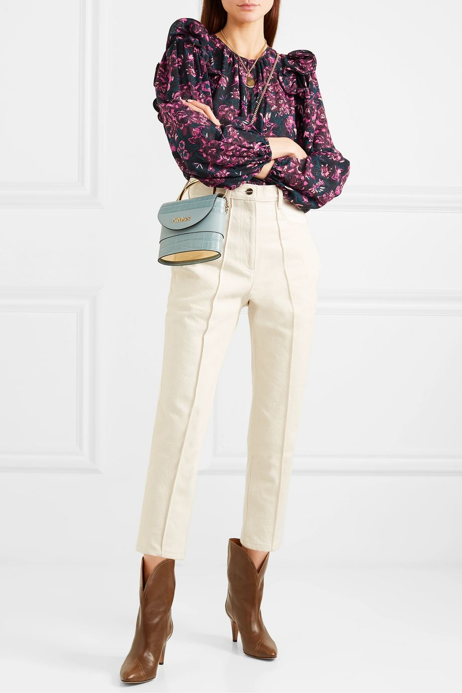 Ulla Johnson Medine ruffled floral-print cotton-blend voile blouse