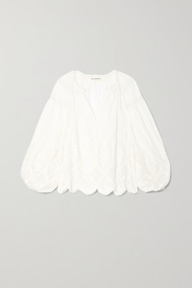 Ulla Johnson Tops Harper crochet-trimmed embroidered cotton-voile blouse