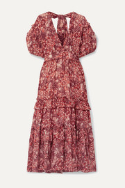 Ulla Johnson Amora ruffled floral-print cotton-blend voile midi dress