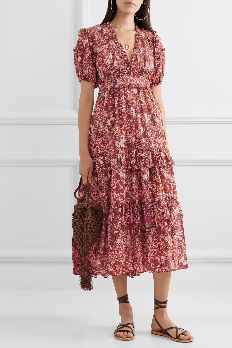Ulla Johnson Amora ruffled floral-print cotton-blend voile midi dress