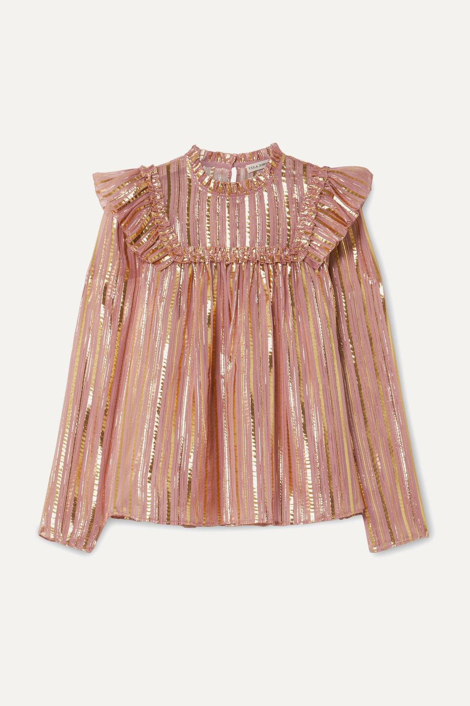 Ulla Johnson Leopold ruffled striped silk and Lurex-blend chiffon blouse