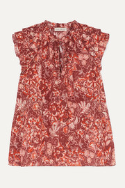 Ulla Johnson Rina ruffled floral-print cotton-blend voile blouse