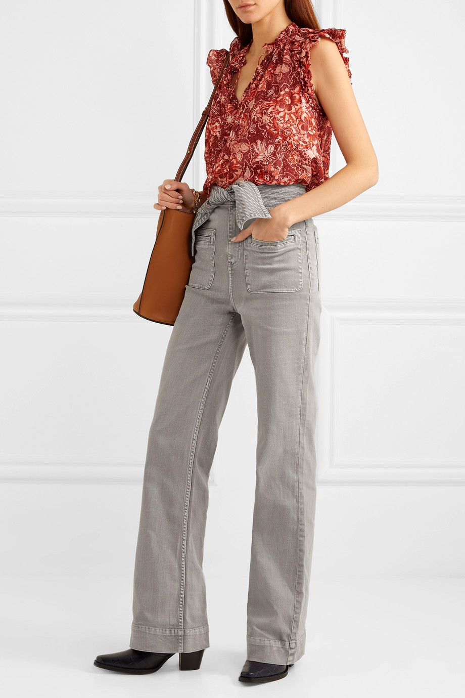Ulla Johnson Wade belted high-rise wide-leg jeans