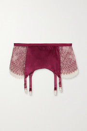 Katherine Hamilton Mariella lace, stretch-tulle and satin suspender belt