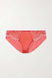 Katherine Hamilton Mariella lace, stretch-tulle and satin briefs