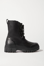 Rb Winter shearling-lined leather and rubber ankle boots