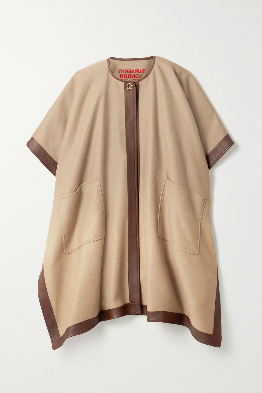 Burberry Leather-trimmed cashmere poncho