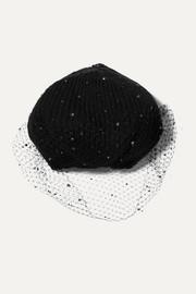 Crystal-embellished mesh and mohair beret