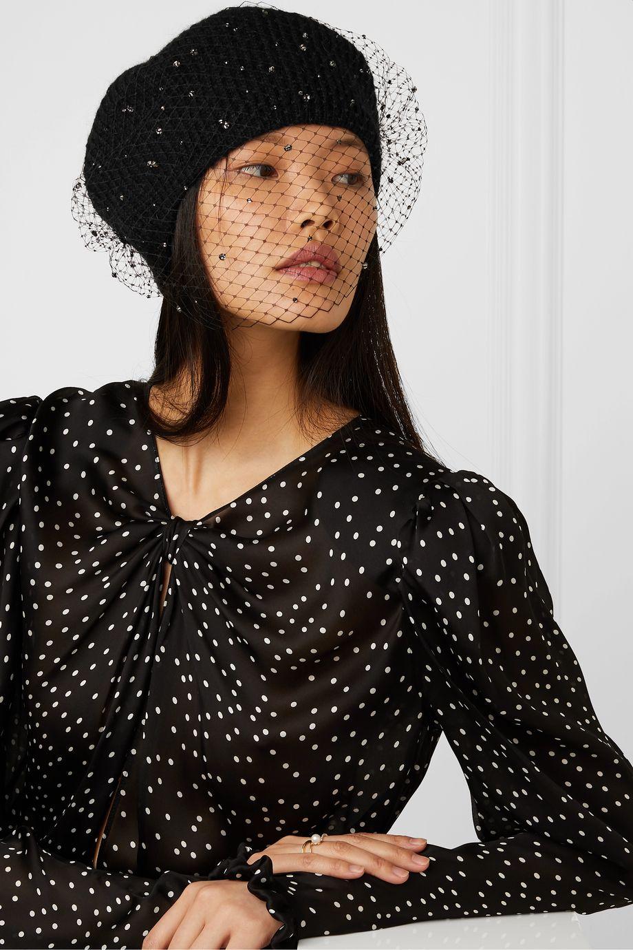 Jennifer Behr Crystal-embellished mesh and mohair beret