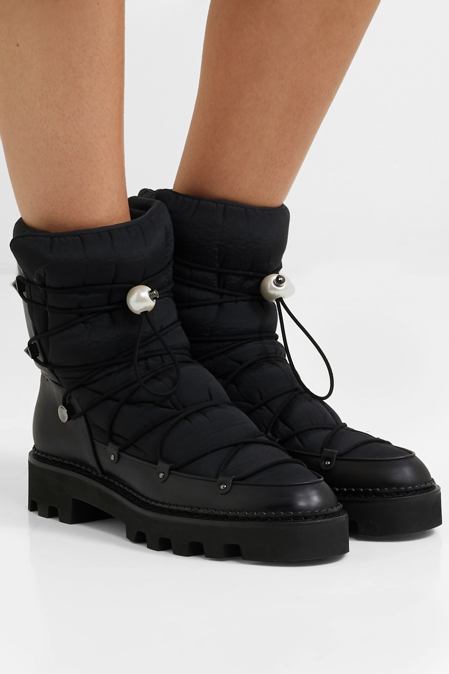 Nicholas Kirkwood Faux pearl-embellished leather and shell ankle boots