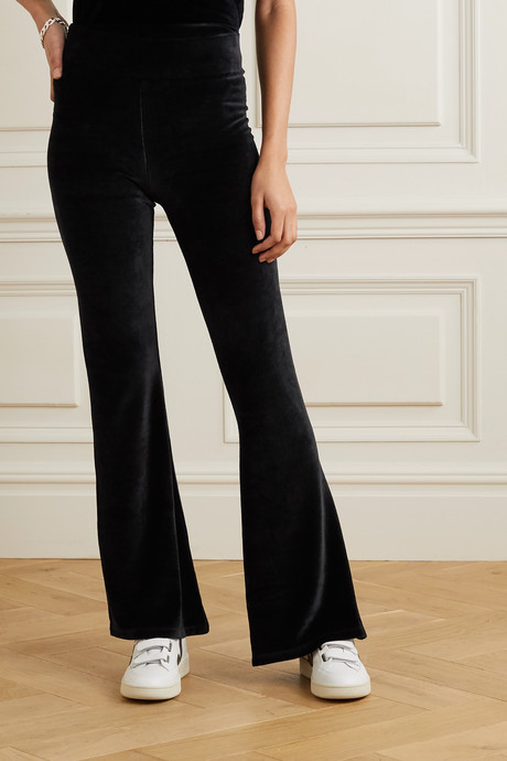 Angelique stretch-velour flared pants