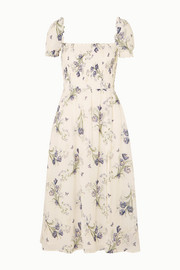 Inka smocked floral-print crepe de chine midi dress