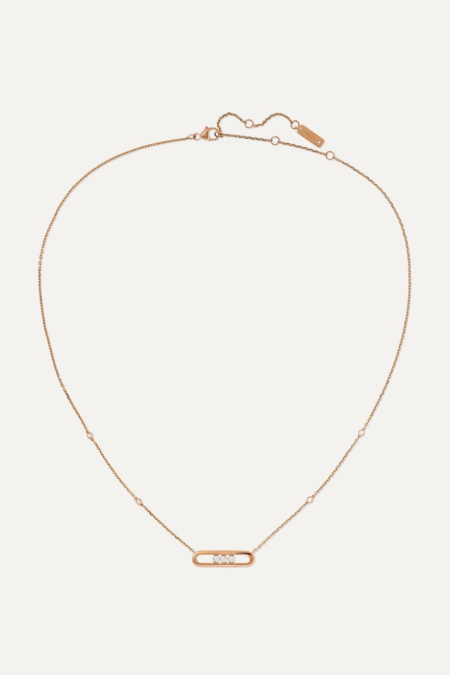 Messika Baby Move 18-karat rose gold diamond necklace