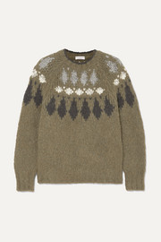 Bead-embellished intarsia alpaca-blend sweater