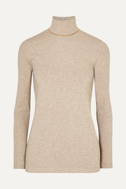 Brunello Cucinelli Bead-embellished mélange stretch cotton-jersey turtleneck top
